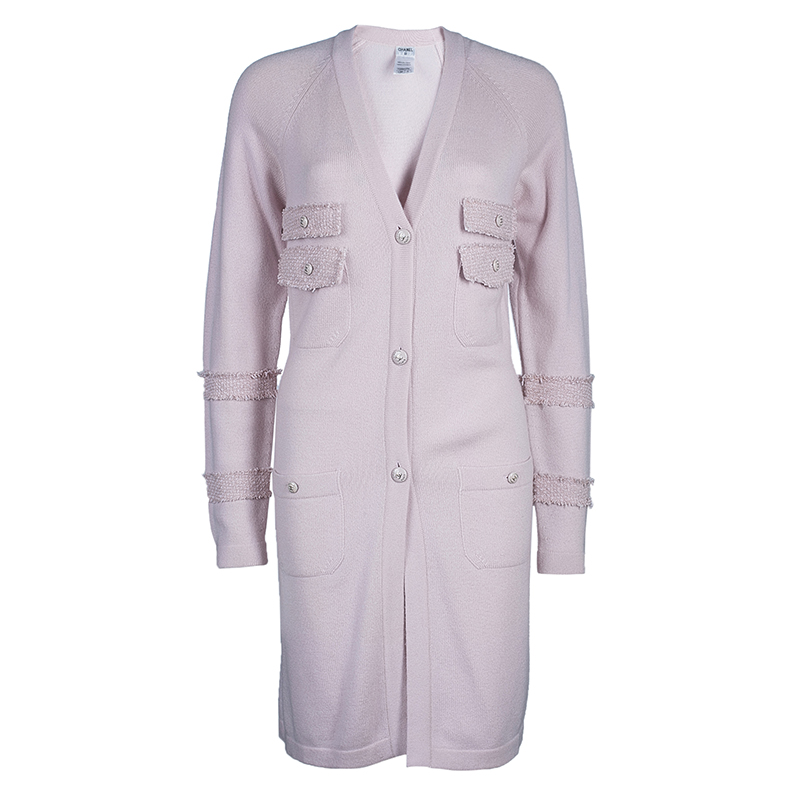 Chanel Pastel Pink 4 Pocket Detail Cardigan M