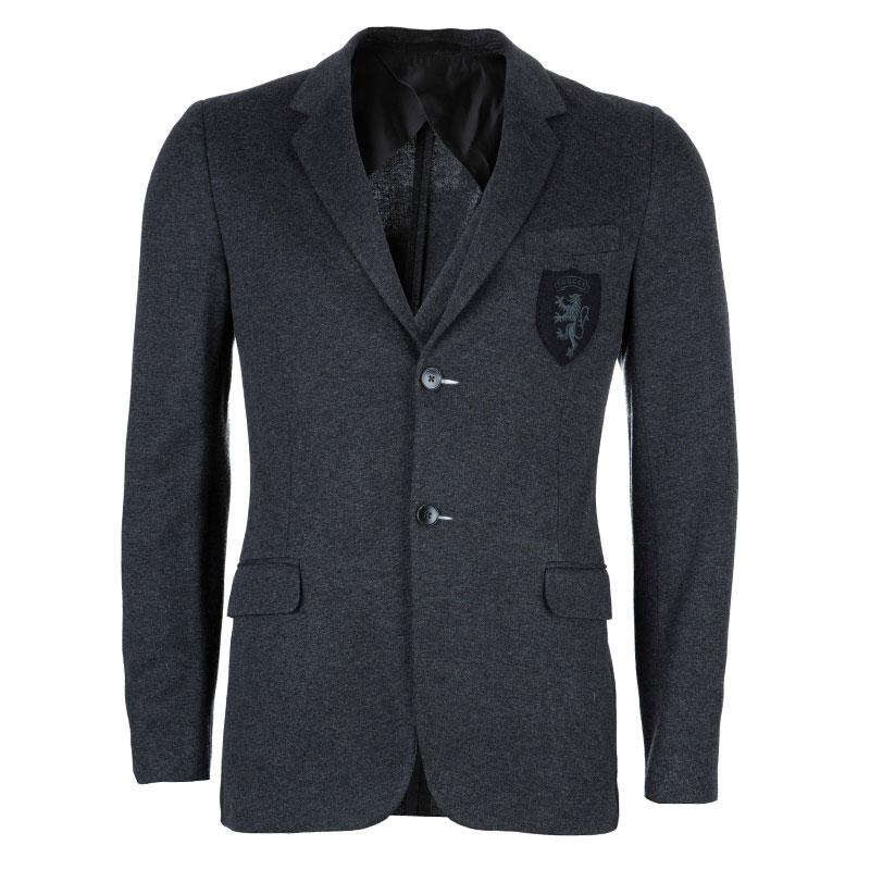 Gucci Men's Grey Crest Detail Blazer S