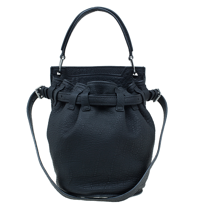 Alexander Wang Black Rubber Laminated Inside Out Diego Bucket Bag