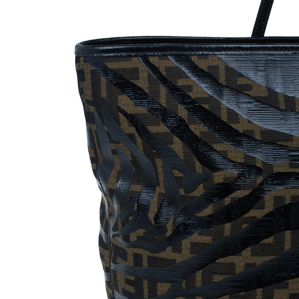 Fendi Brown Zucca Canvas Zebra Print Tote