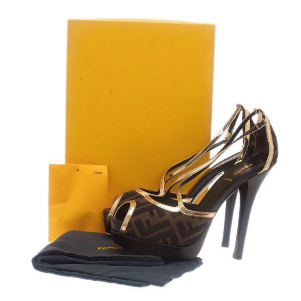 Fendi Zucca Canvas Cross Strap Platform Sandals Size 38
