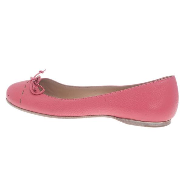 Fendi Pink Leather Bow Ballet Flats Size 37