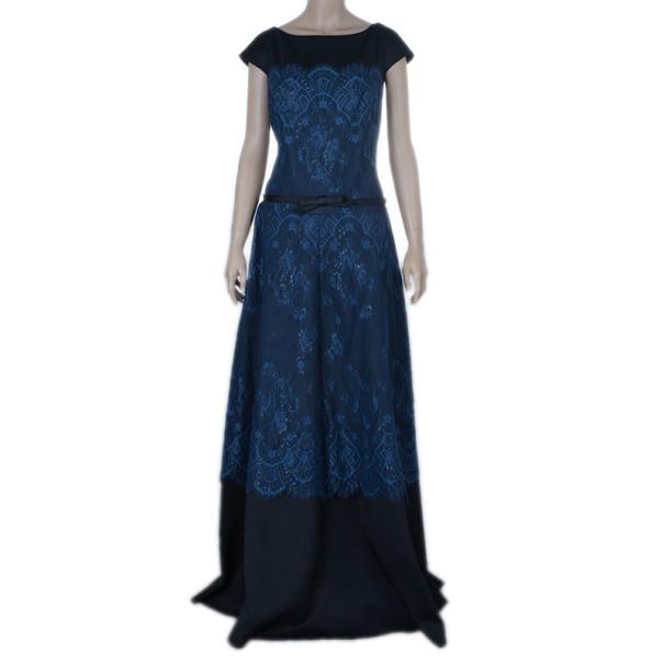 Tadashi Shoji Lace Silk Empire Dress XL