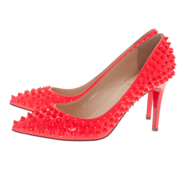 Christian Louboutin Neon Coral Patent Pigalle Spikes Pumps Size 38