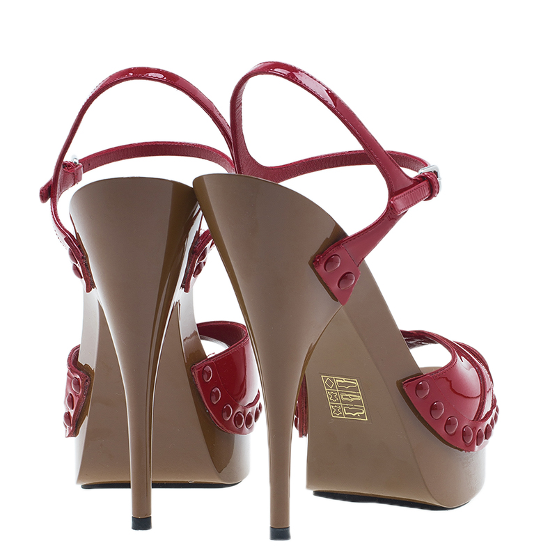 Miu Miu Red Patent Ankle Strap Platform Sandals Size 39