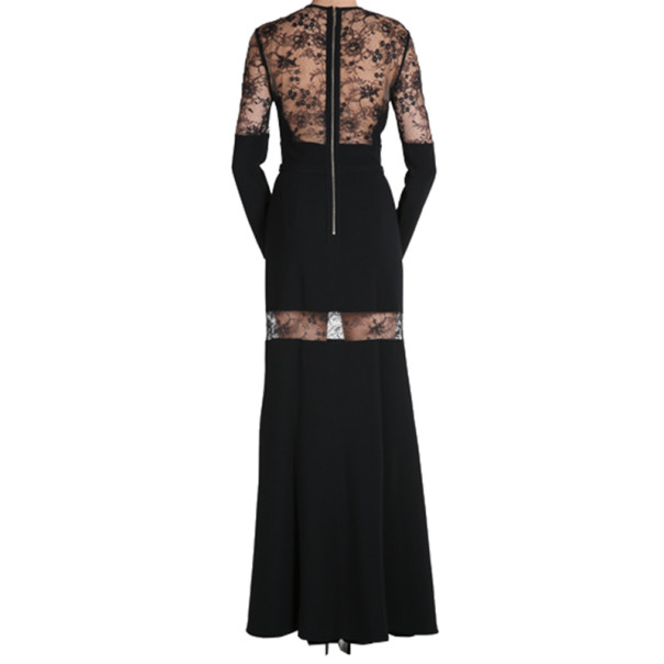 Elie Saab Black Lace-Detailed Long-Sleeved Gown S