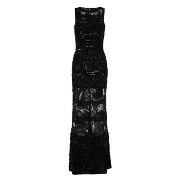 Elie Saab Black Sleeveless Embroidered Gown M