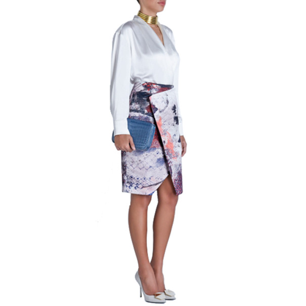 Prabal Gurung Asymmetric Printed Satin Skirt M