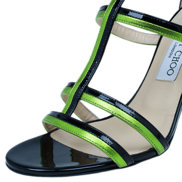 Jimmy Choo Green and Black Thistle Sandals Size 38.5