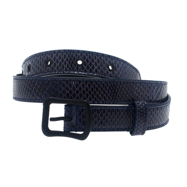 Bottega Veneta Blue Watersnake Ayers Belt 80CM