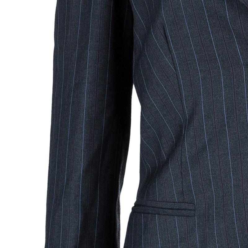 Emporio Armani Grey Striped Pant Suit S