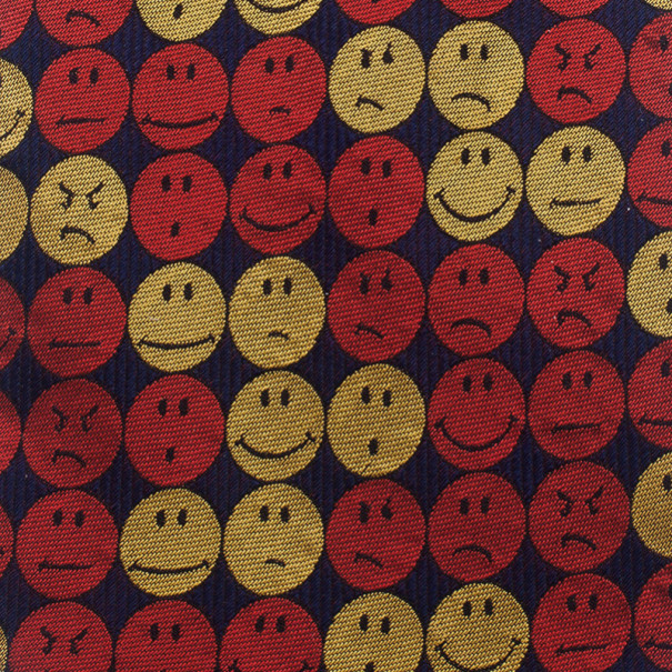 Moschino Red Smiley Face Silk Tie