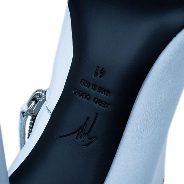 Giuseppe Zanotti White Leather Asymmetrical Zip Ankle Boots Size 41