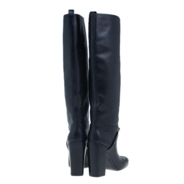 Saint Laurent Paris Black Leather 'New Chyc 105′ Chain Link Knee Length Boots Size 39.5