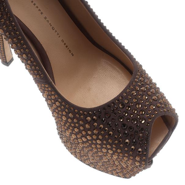 Giuseppe Zanotti Grey Crystal Coated Suede Exaggerated Peep Toe Platform Pumps Size 39.5