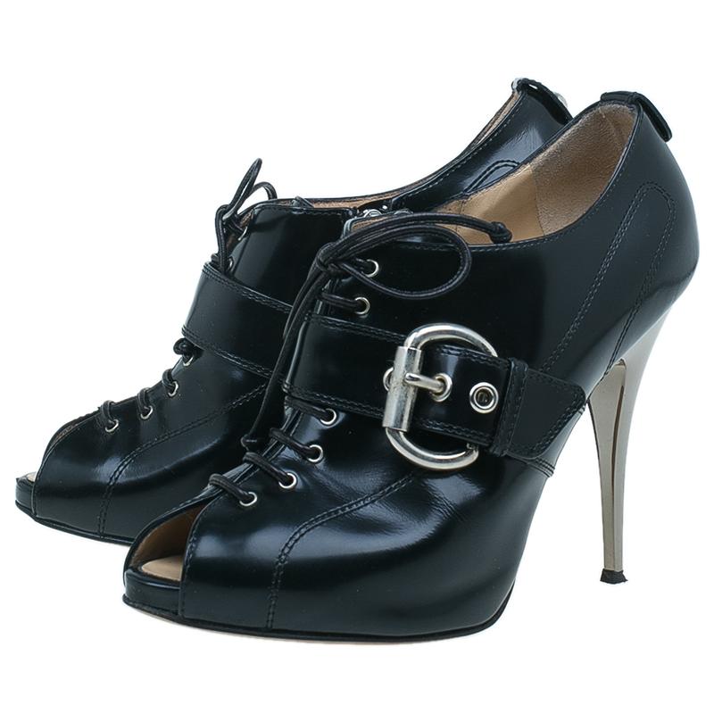 Giuseppe Zanotti Black Patent Lace Up Buckle Detail Booties Size 40