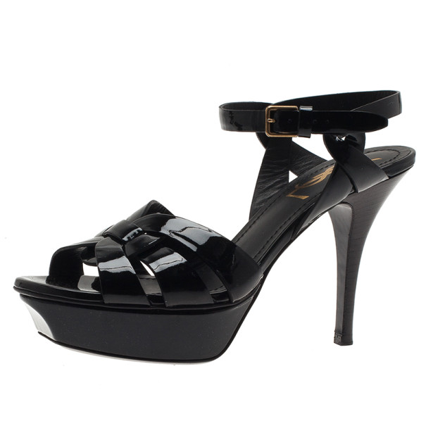 Saint Laurent Paris Black Patent Leather Platform Tribute Sandals Size 36