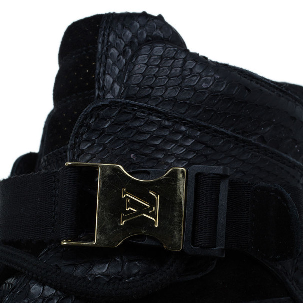 Louis Vuitton Black Python Slipstream Sneaker Boots Size 38