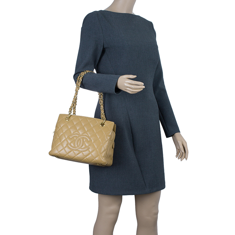Chanel Beige Quilted Caviar Leather Petite Timeless Shopper Tote