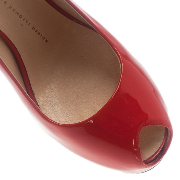 Giuseppe Zanotti Red Patent Leather 'Monro 105′ Platform Peep Toe Slingback Sandals Size 40