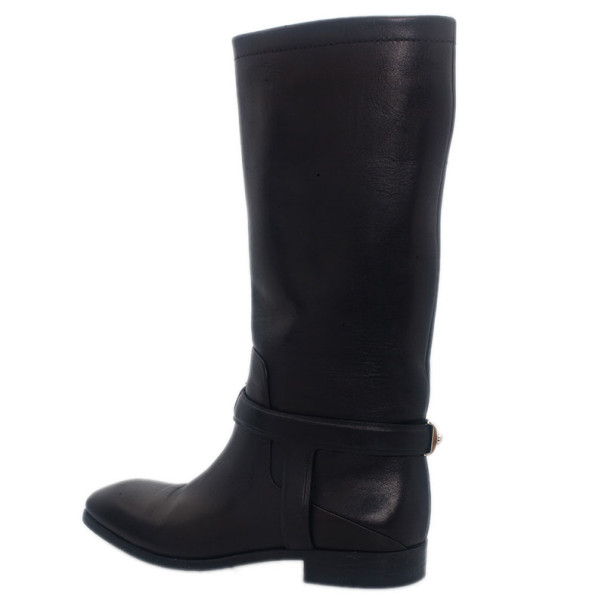 Dior Black Leather Riding Knee Boots Size 36.5