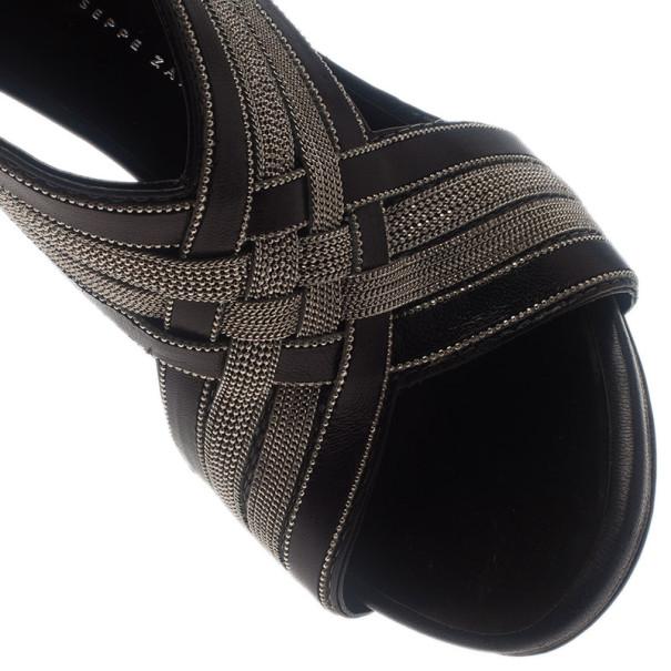 Giuseppe Zanotti Metallic Leather Back Zip Wedge Sandals Size 37