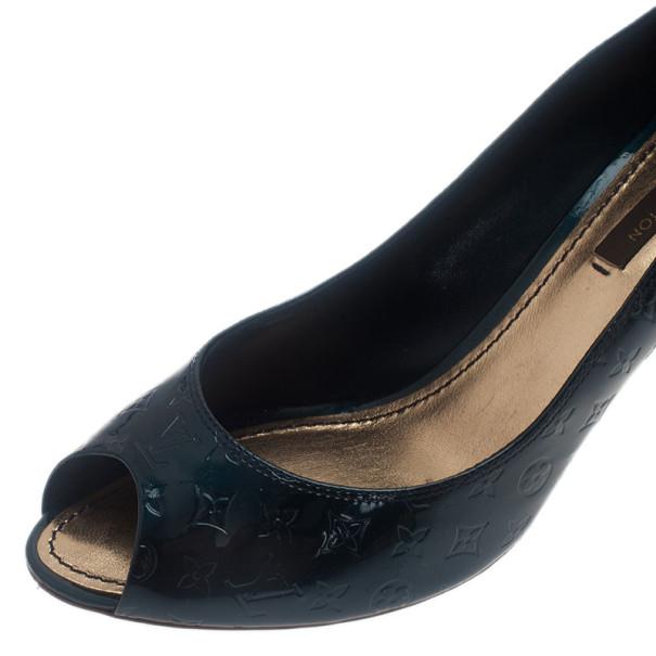 Louis Vuitton Green Monogram Vernis No Doubt! Peep Toe Pumps Size 36.5