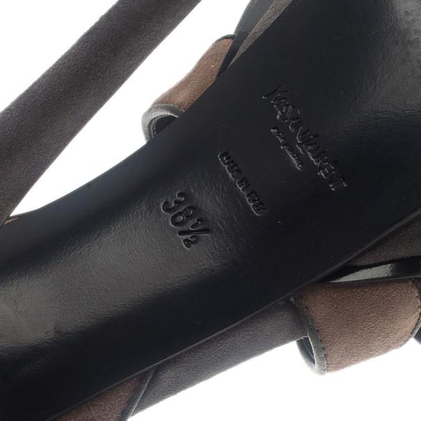 Saint Laurent Paris Tri Color Tribute Platform Sandals Size 38.5