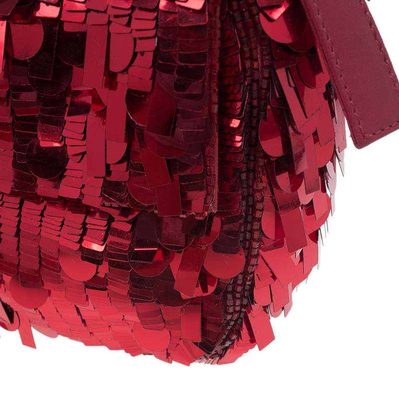Fendi Red Sequin Baguette Shoulder Bag