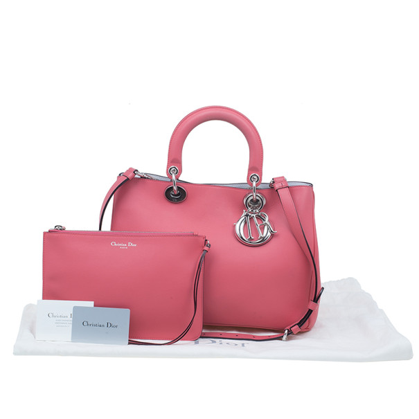 Dior Rose Calfskin Medium Diorissimo Tote
