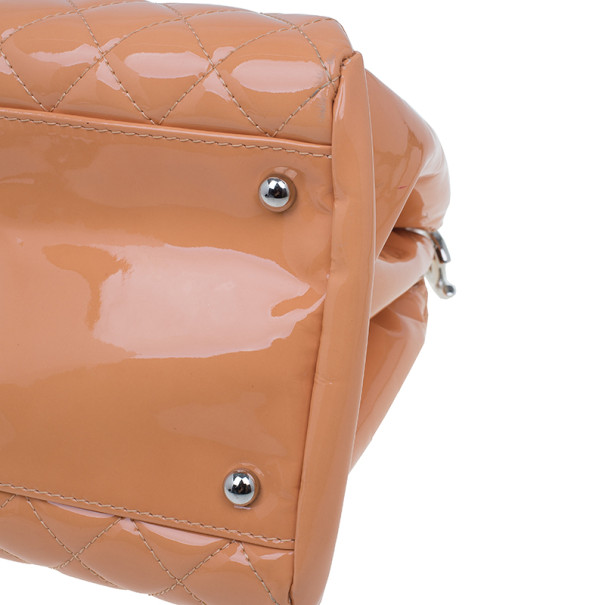Chanel Cantaloupe Patent Leather Large Mademoiselle Bag