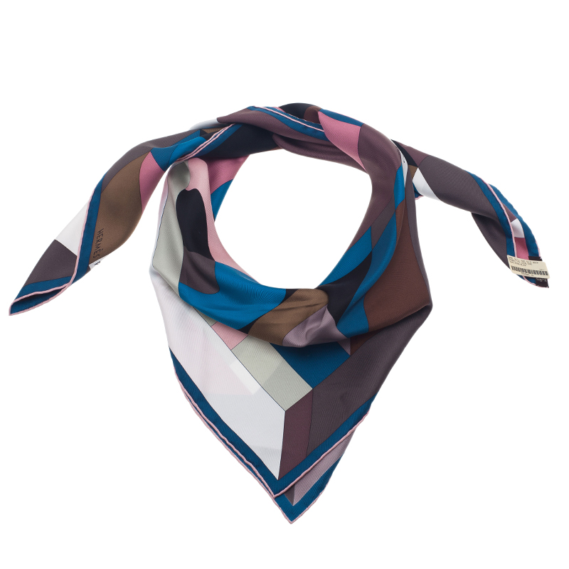 Hermes Multicolor Perspective Cavaliere Square Scarf