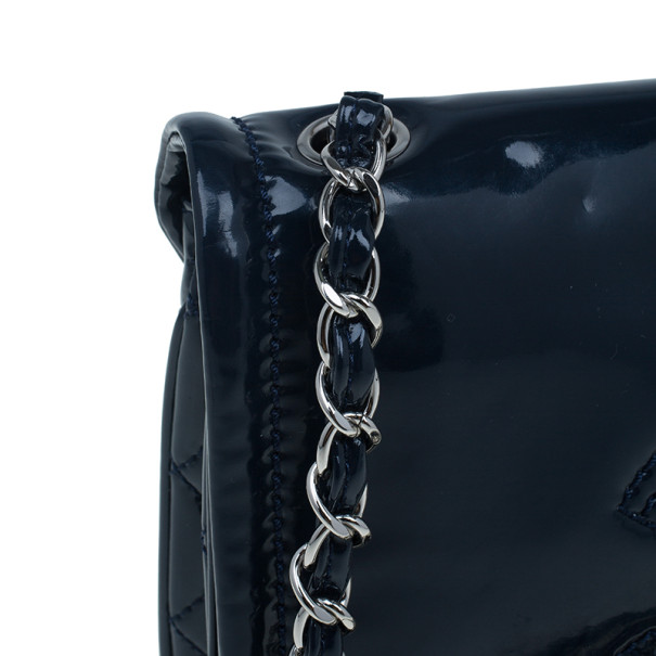 Chanel Blue Patent CC Logo Chain Crossbody