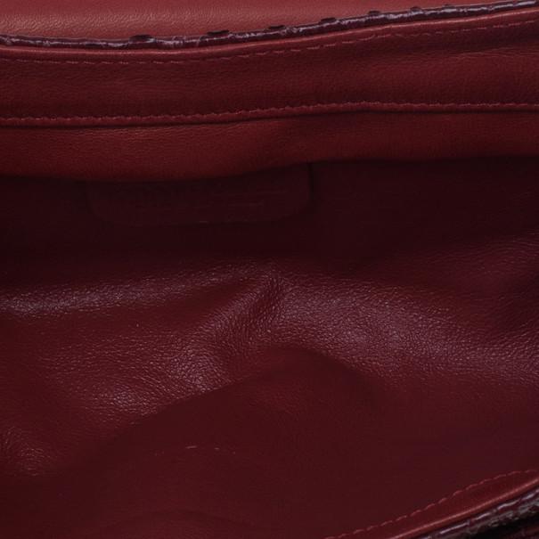 Roberto Cavalli Red Python Embellished Elaphe Clutch