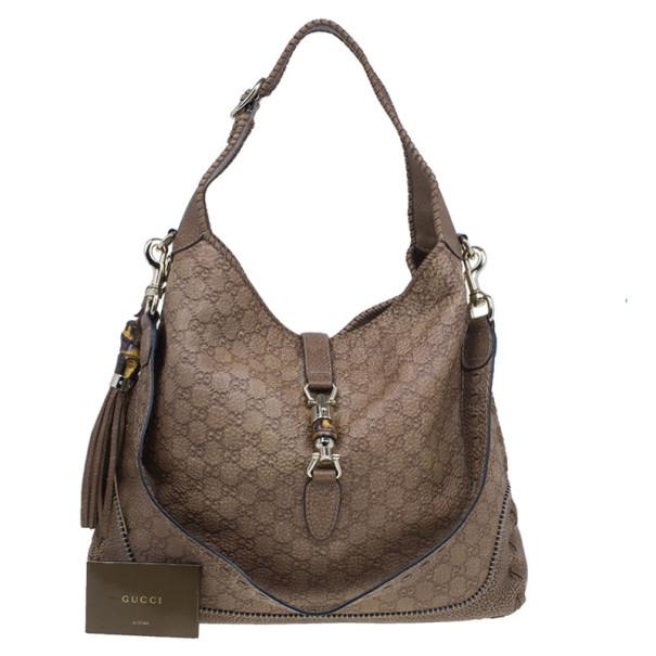 Gucci Tan Guccissima Leather Large Jackie Shoulder Bag