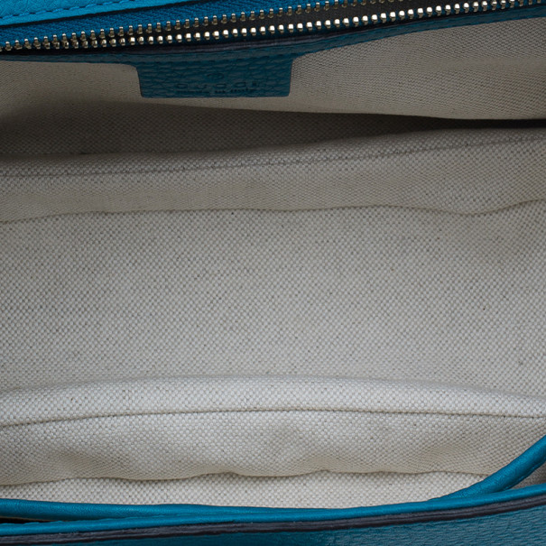 Gucci Turquoise Leather Bamboo Top Handle Bag