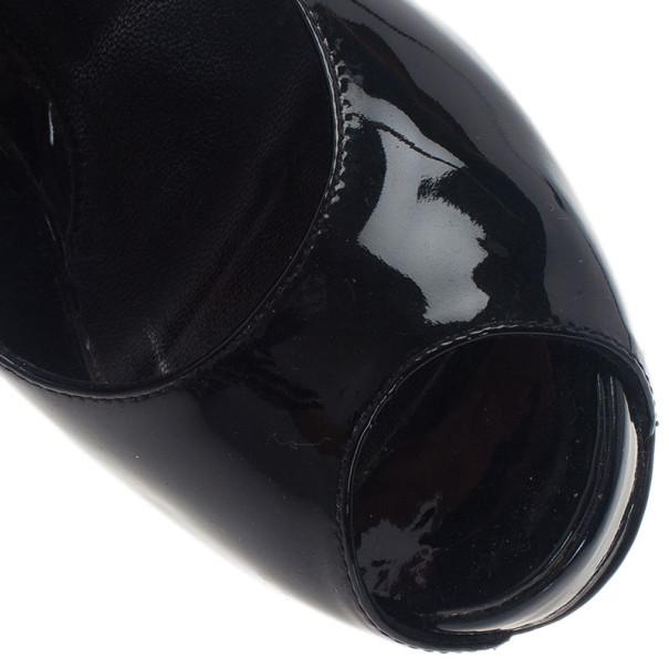 Fendi Black Patent Zucchino Heel Peep Toe Pumps Size 37