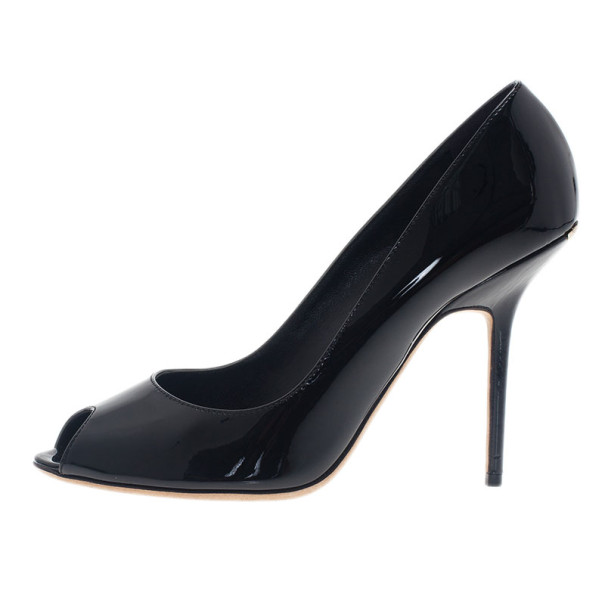 Burberry Black Patent Peep Toe Pumps Size 40