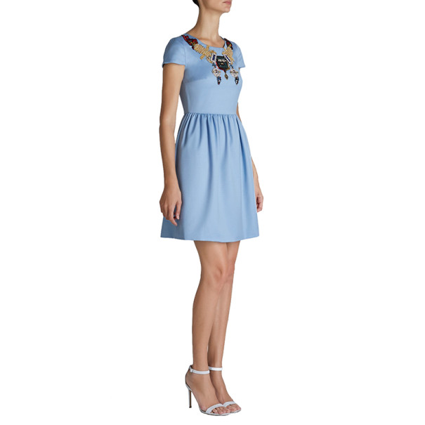 Mary Katrantzou Julie Blue Embroidered Dress M