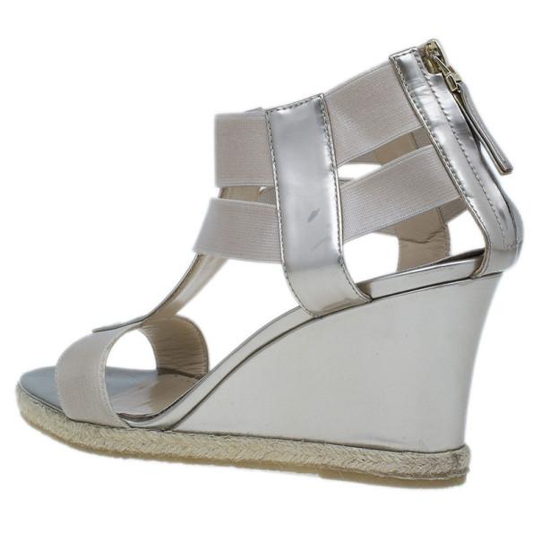 Fendi Metallic Leather T-Strap Espadrille Wedge Sandals Size 36