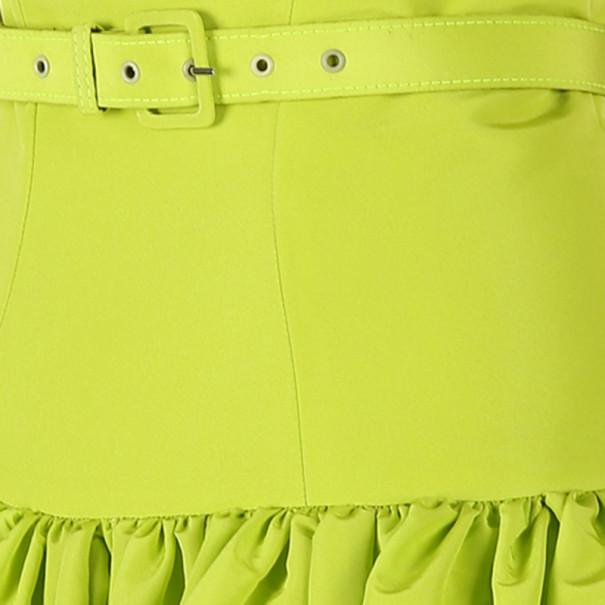 Christian Siriano Lime Silk Drop-Waist Gown S