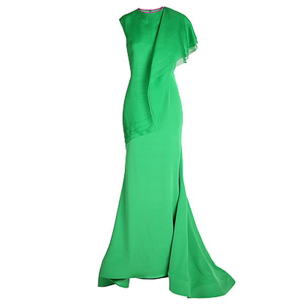 Christian Siriano Green Silk Draped Gown S