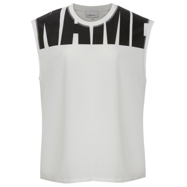 "3.1 Phillip Lim White ""Name Drop"" Logo Muscle Tee M"