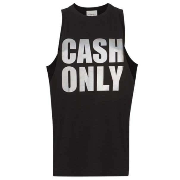 "3.1 Phillip Lim Black ""Cash Only"" Logo Tank M"