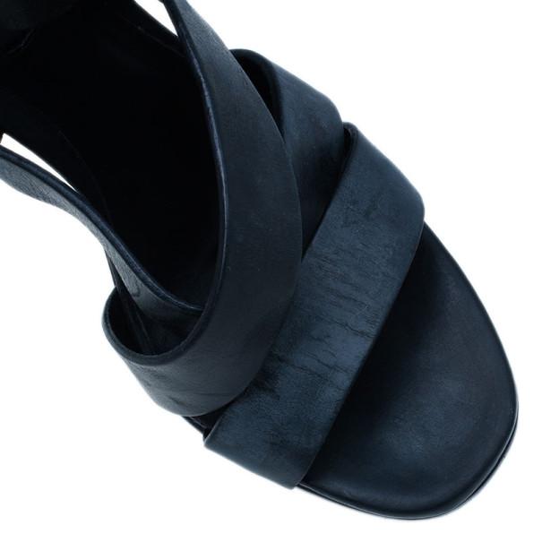 Burberry Prorsum Black Leather Strappy Platform Sandals Size 38