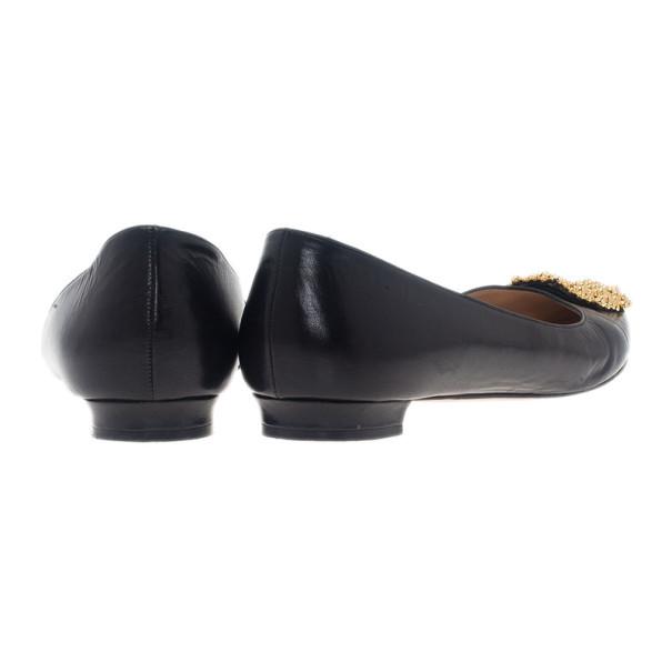 Manolo Blahnik Black Leather Hangisi Ballet Flats 39.5