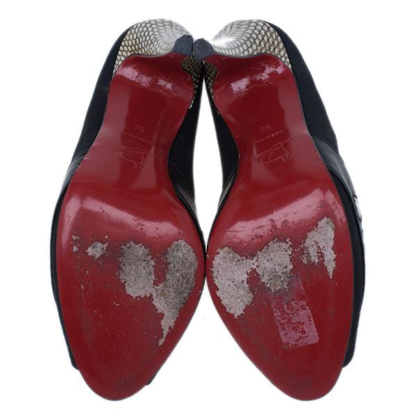 Christian Louboutin Black Satin Python Trim Peep Toe Pumps Size 39