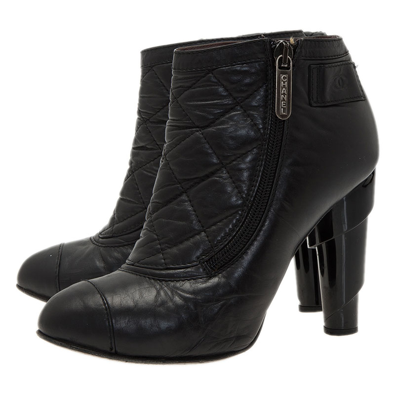 Chanel Black Leather Booties with Reissue Pouch Size 37
