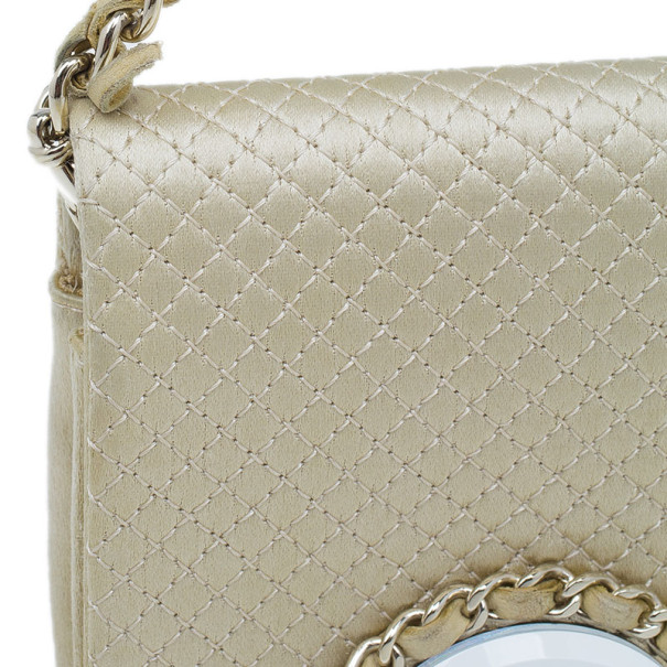 Chanel Beige Micro Quilted Satin Evening Clutch