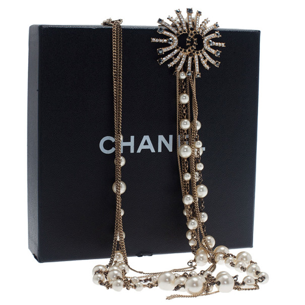 Chanel Multistrand Pearl Black and White Crystals Long Necklace